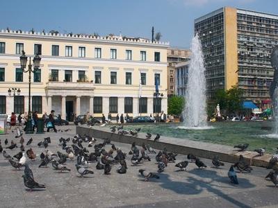 Athinas Street As It Enters Kotzia Square