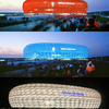 Allianz Arena Is Lit Up In Red, Blue And White