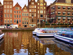Amsterdam touristic bus and boat Photos