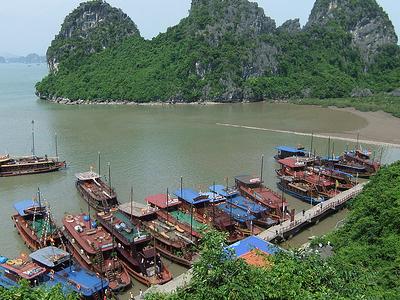 Anchored Boats At Ha Long Bay