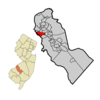 Bellmawr Highlighted In Camden County. Inset Location Of Camden