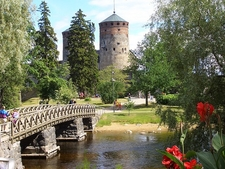 Bridge & Olavinlinna Castle Gardens At Savonlinna In Finland