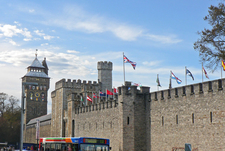 Cardiff Castle With Flags