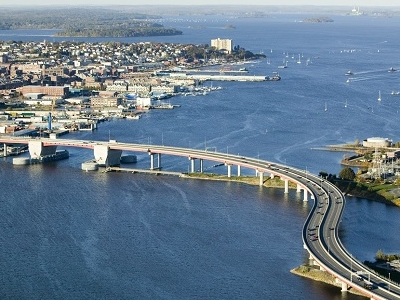 Casco Bay Bridge With Downtown Portland ME