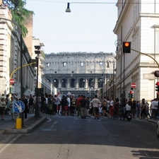Colloseum Through The City Street