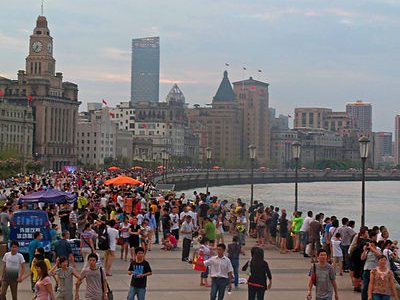 Crowded Bund On Summer Evening