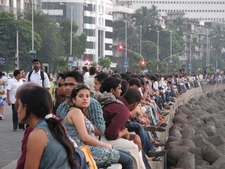Crowds Enjoying At Scenic Marine Drive