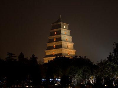 Giant Wild Goose Pagoda At Night