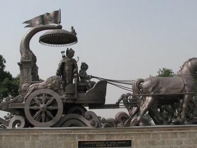 Bronze Chariot Lord Krishna And Arjuna