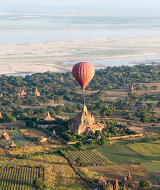 Hot Air Balloon Over A Pagoda In Bagan