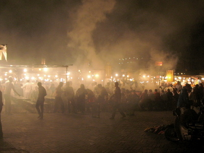 Steam Rising From Food Stalls