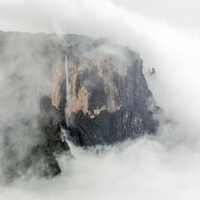 Kukenan Tepui With Falls In The Clouds
