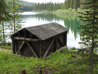 Lower Logging Lake Snowshoe Cabin and Boathouse