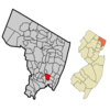 Map Highlighting Ridgefield Parks Location Within Bergen County.
