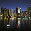 Miami FL With Fishing Boat At Dusk