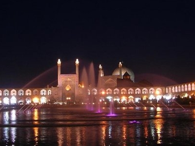 Mosque At Night With The Fountain