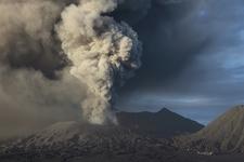 Mount Bromo Erupting Ash