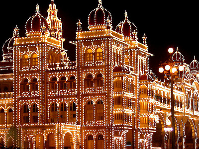 Mysore Palace Illuminated For Dasara Festival