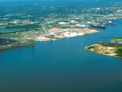 Aerial View Of The Port Of Mobile