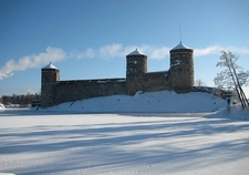 Olavinlinna Castle In Savonlinna After Snowfall - Finland