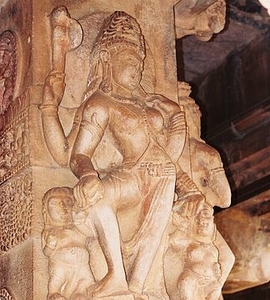 Pillar Relief Sculpture At Durga Temple