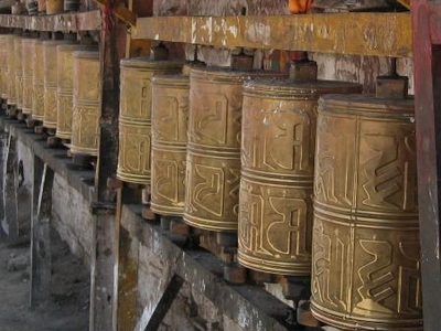 Prayer Wheels In  Samye