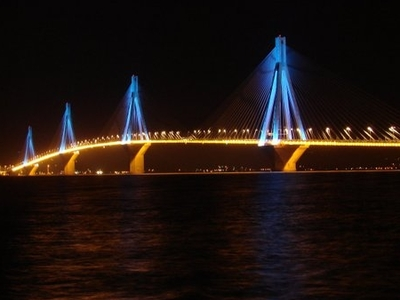 Rio-Antirio Bridge View At Night