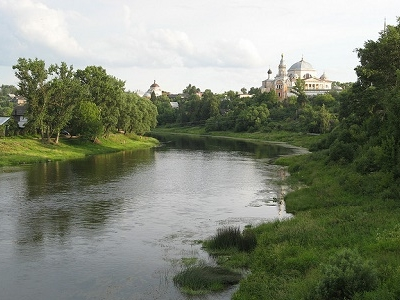 River Volga Flowing Through Valdai Hills In Russia