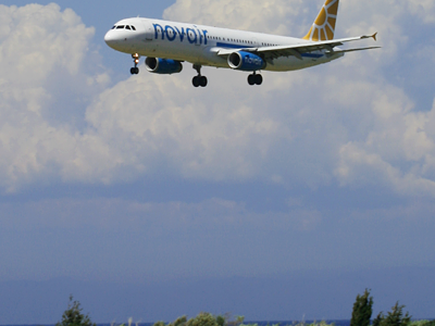 A Novair Airbus A321 Landing At Rhodes International Airport