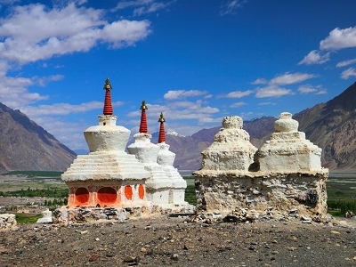 Stupas In Nubra Valley