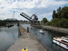 Salmon Bay Bridge From The Ballard Locks