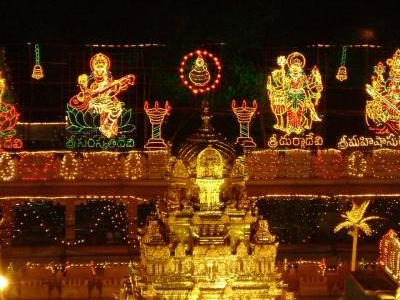 Temple Gopuram In Night Lighting