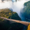 Victoria Falls Bridge Over Zambezi In Zambia