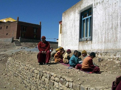 Young Monks Studying Sakya Tangyuth Gompa