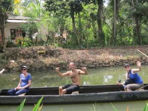 Friendly family in Kerala Backwater